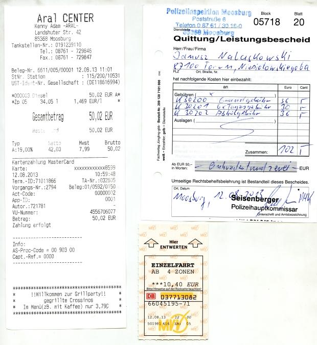 Koszty parkingu policyjnego, i transportu...