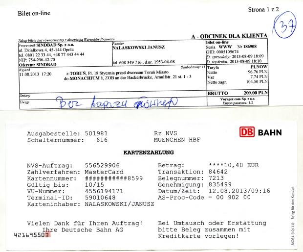 Koszty dojazdu do Niemiec.