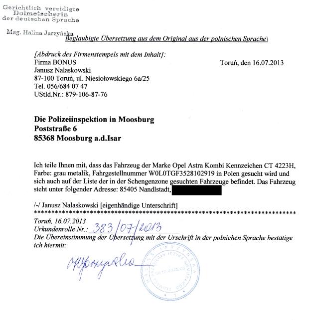 Tłumaczenie maila do Mosburga wysłanie faksem.